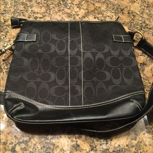 Coach Shoulder Pattern Bag w/ Trimmed Leather